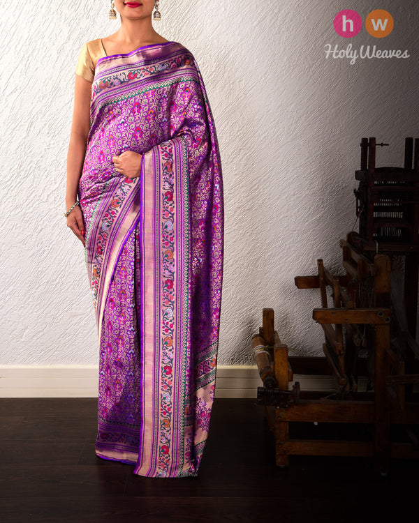 Purple Banarasi Patola Tehri Cutwork Brocade Handwoven Katan Silk Saree
