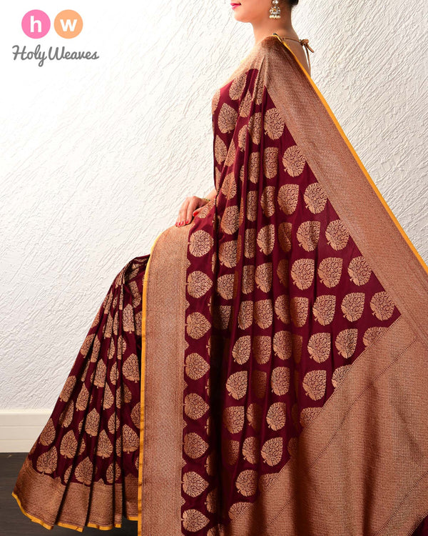 Mahogany Banarasi Cutwork Brocade Handwoven Katan Silk Saree with Contrast Blouse Piece - HolyWeaves