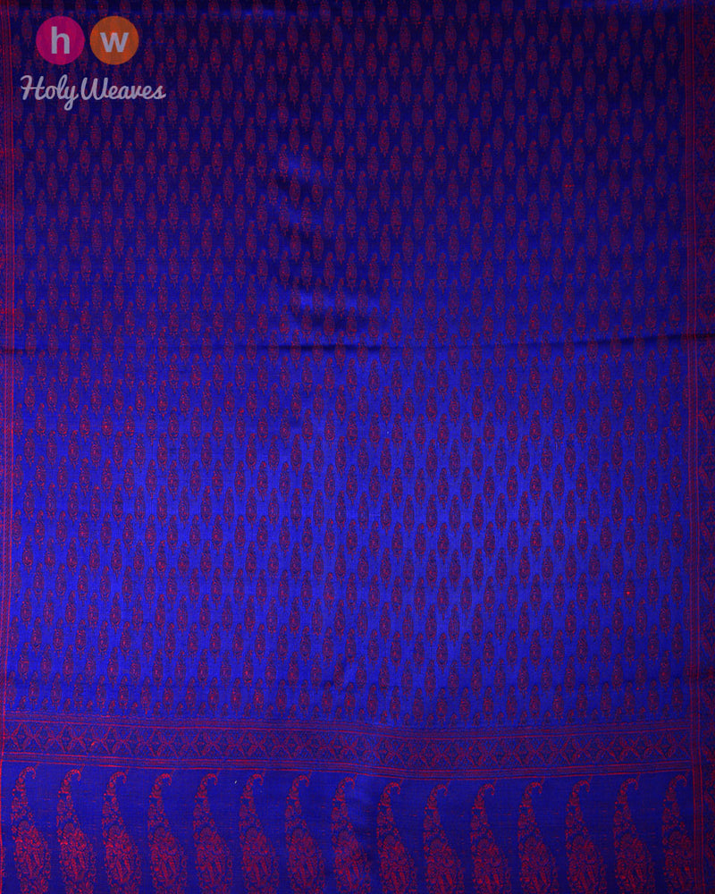 "Royal Blue Banarasi Jamawar Handwoven Silk Scarf 72""x21"" - HolyWeaves"