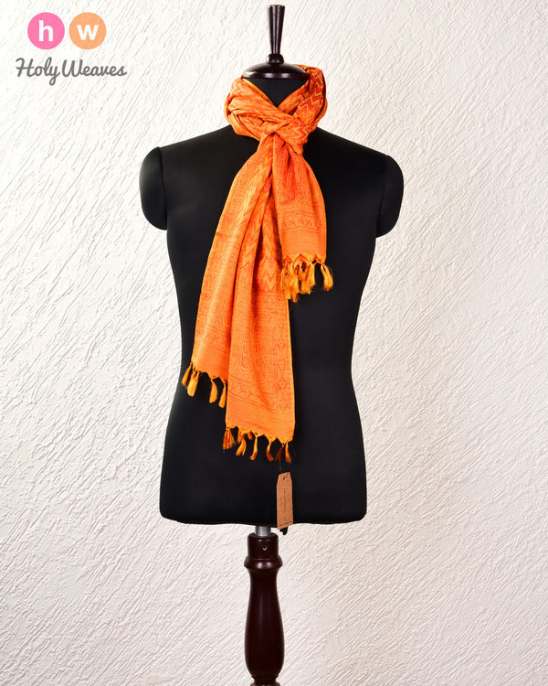 "Orange Banarasi Jamawar Handwoven Silk Scarf 72""x21"" - HolyWeaves"