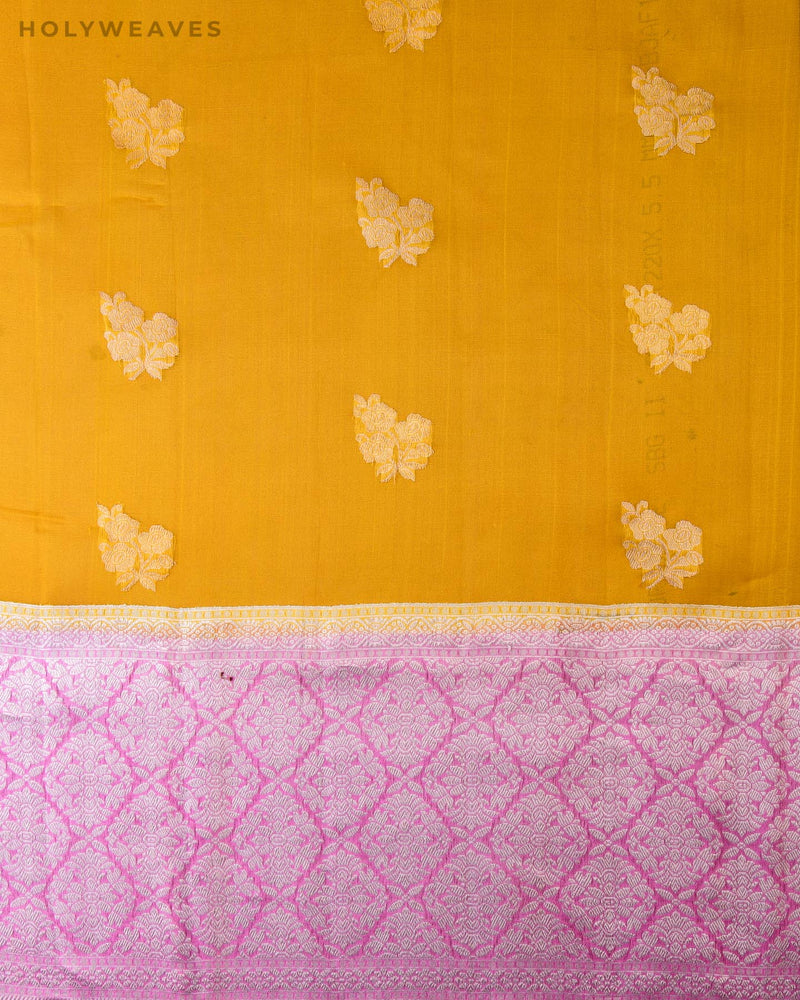 Yellow Banarasi Alfi Sona Rupa Kadhuan Brocade Handwoven Kora Silk Saree with Contrast Baby Pink Border