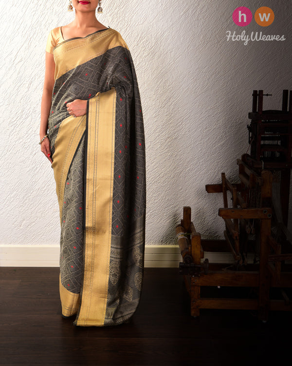 Gray Banarasi Resham Meena Tanchoi Woven Cotton Silk Saree - HolyWeaves