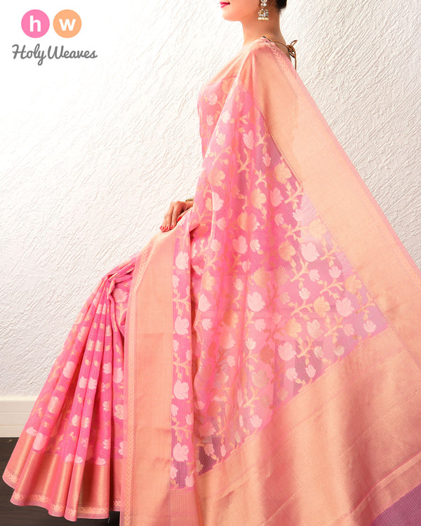 Pink Banarasi Resham Zari Jaal Cutwork Brocade Woven Cotton Silk Saree
