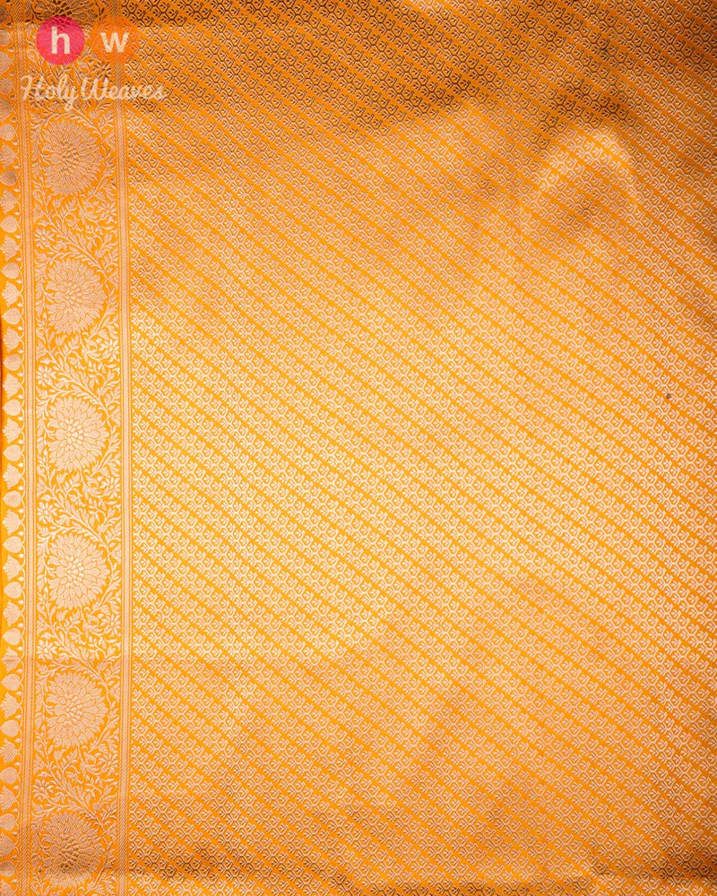 Golden Yellow Banarasi Sona Rupa Kadhuan Brocade Handwoven Katan Silk Saree with Koniya Buta - HolyWeaves
