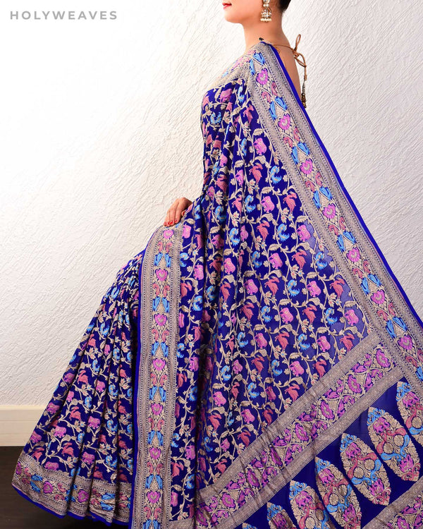 Royal Blue Banarasi Meena Shikargah Cutwork Brocade Handwoven Khaddi Georgette Saree