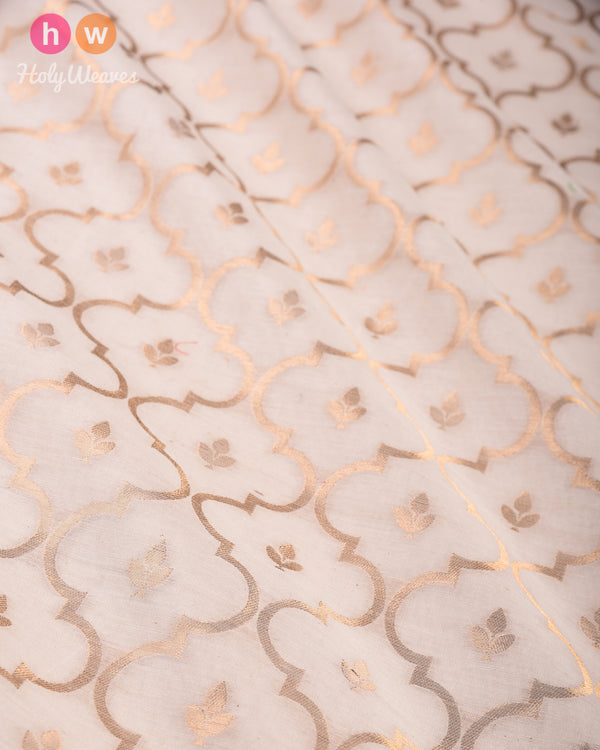 Cream Banarasi Cutwork Brocade Handwoven Cotton Silk Fabric - HolyWeaves