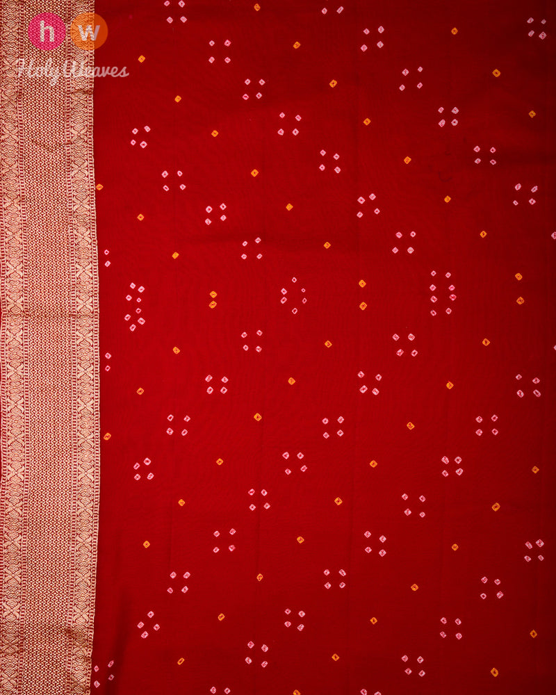 Red Banarasi Cutwork Brocade Handwoven Khaddi Georgette Saree with 2-color Bandhej - HolyWeaves