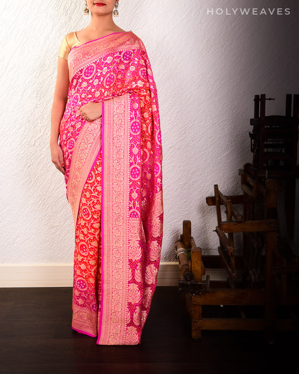 Pink-Orange Banarasi Cutwork Brocade Handwoven Khaddi Georgette Saree with 2-color Bandhej