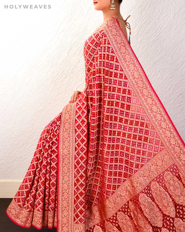 Red Banarasi Cutwork Brocade Handwoven Khaddi Georgette Saree with 2-color Bandhej