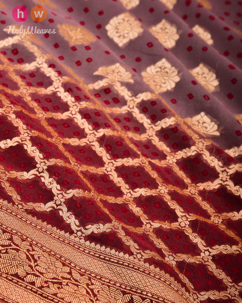 Garnet Banarasi Cutwork Brocade Handwoven Khaddi Georgette Saree with 2-color Bandhej - HolyWeaves