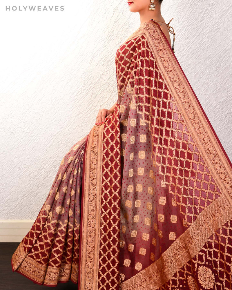 Garnet Banarasi Cutwork Brocade Handwoven Khaddi Georgette Saree with 2-color Bandhej