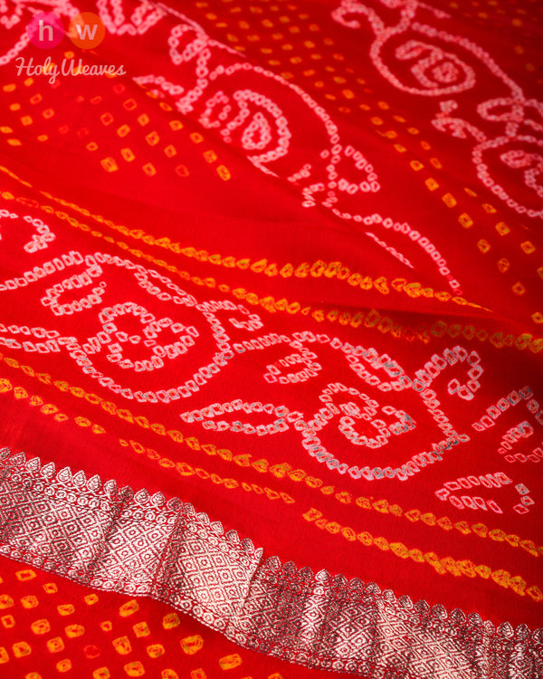 Red Banarasi Kadhuan Brocade Handwoven Khaddi Georgette Dupatta with 2-color Bandhej - HolyWeaves