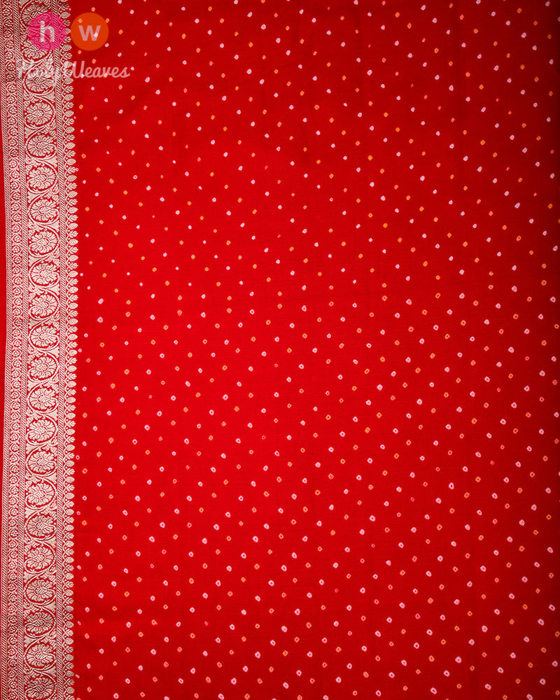 Red Banarasi Kadhuan Brocade Handwoven Khaddi Georgette Saree with 2-color Bandhej - HolyWeaves