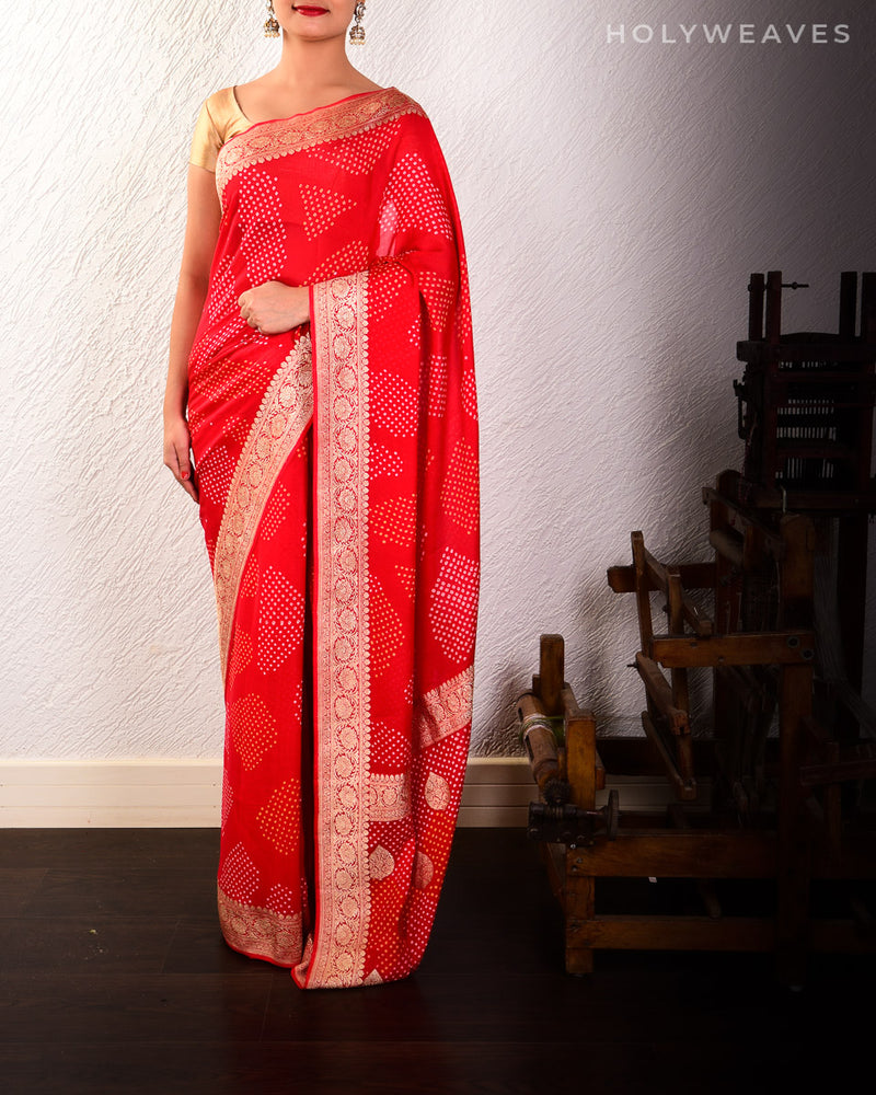 Red Banarasi Kadhuan Brocade Handwoven Khaddi Georgette Saree with 2-color Maheen Bandhej