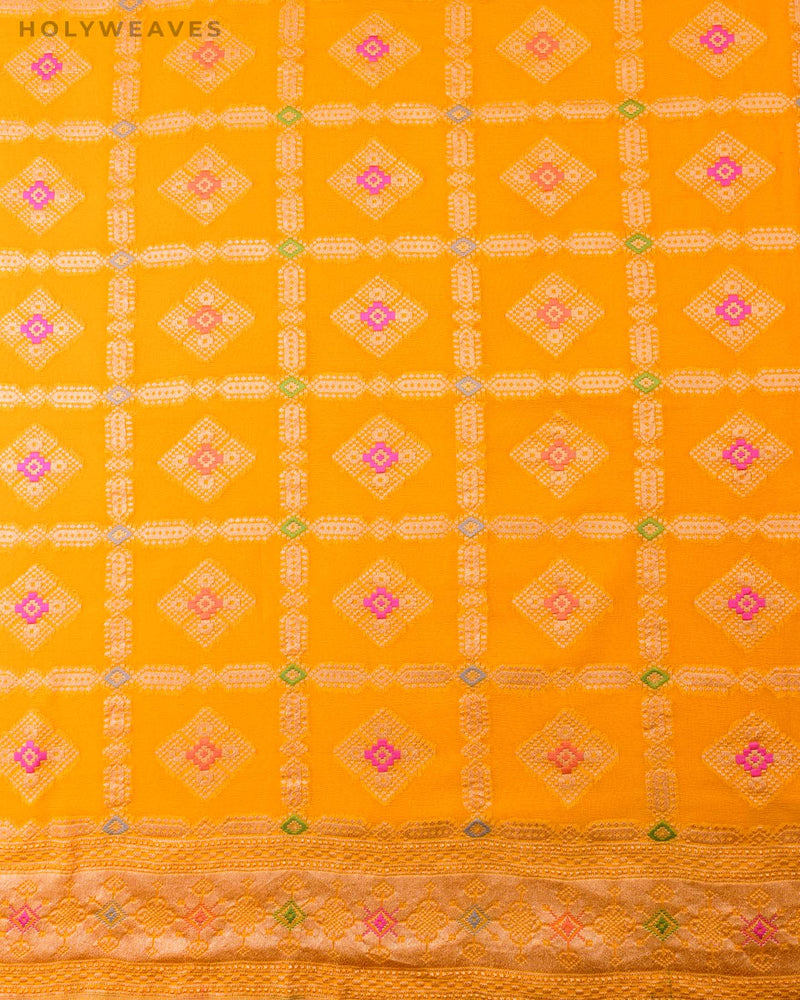 Golden Yellow Banarasi Gharchola Cutwork Brocade Handwoven Khaddi Georgette Saree