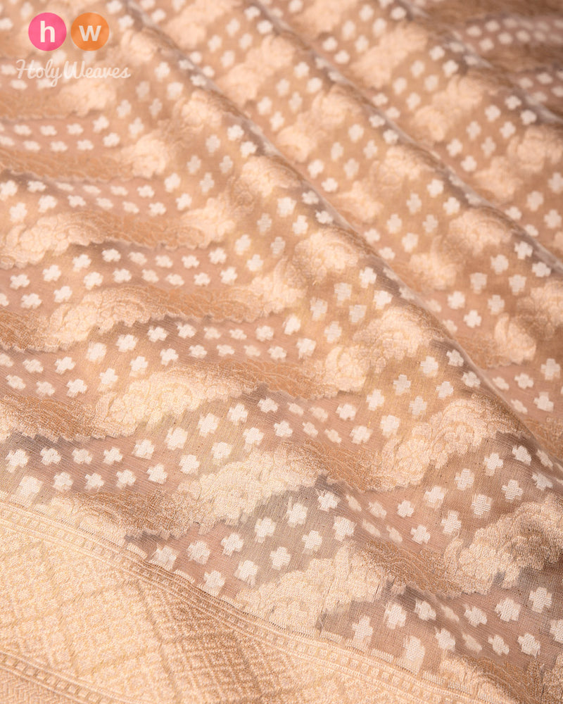 Gold Banarasi Leheriya Cutwork Brocade Handwoven Kora Silk Saree - HolyWeaves