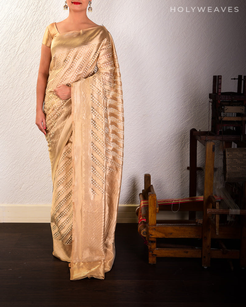 Gold Banarasi Leheriya Cutwork Brocade Handwoven Kora Silk Saree