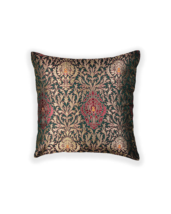 Green Banarasi Kimkhwab Brocade Poly Silk Cushion Cover 16""