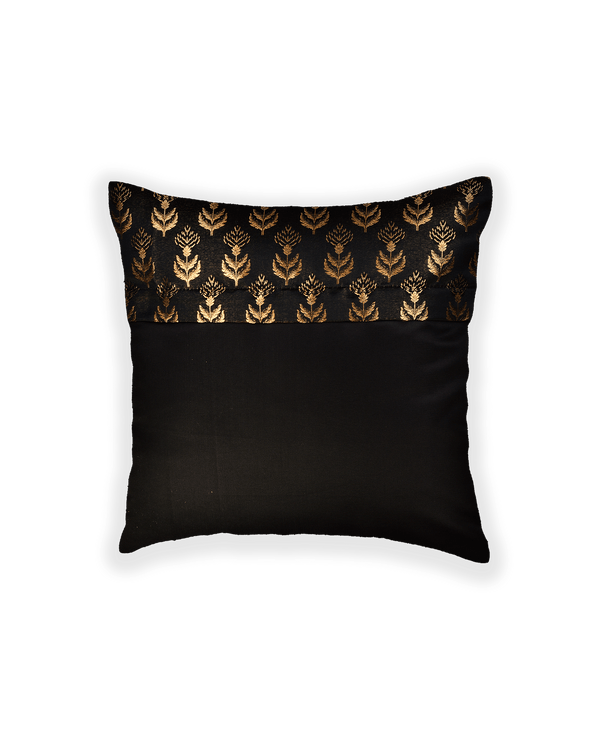 Black Banarasi Tissue Brocade Poly Silk Cushion Cover 16""