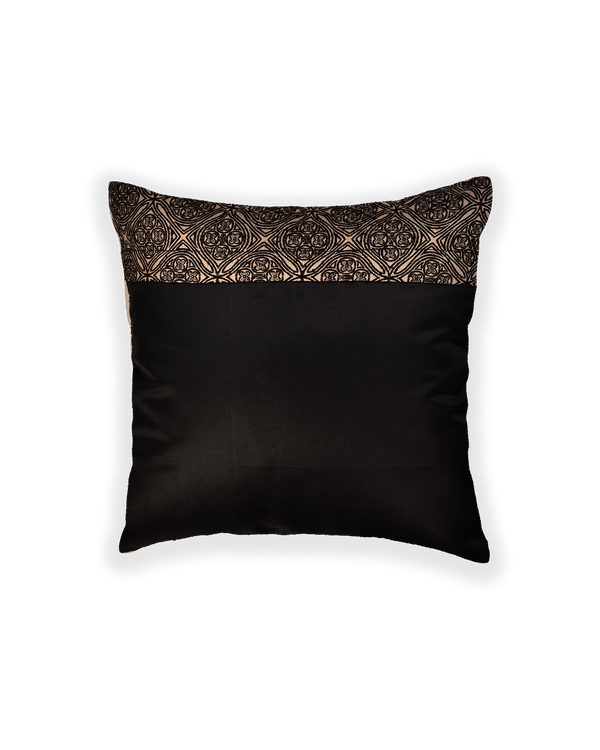 Black Banarasi Brocade Noile Silk Cushion Cover 16""