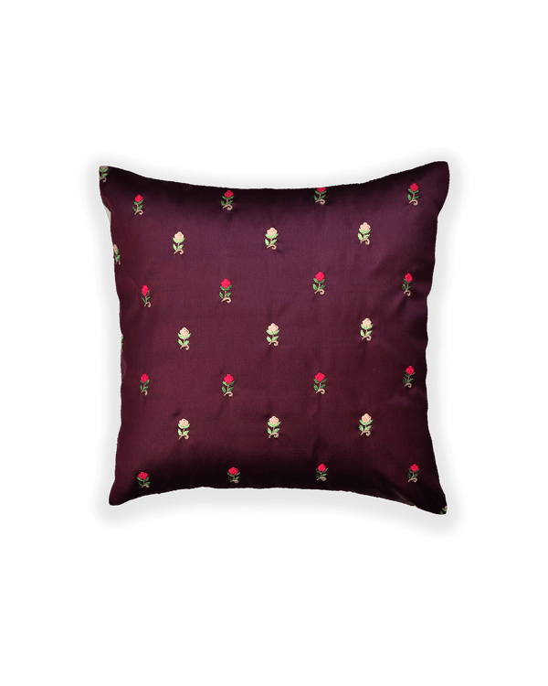 Mahogany Satin Hand-embroidered Poly Silk Cushion Cover 16""