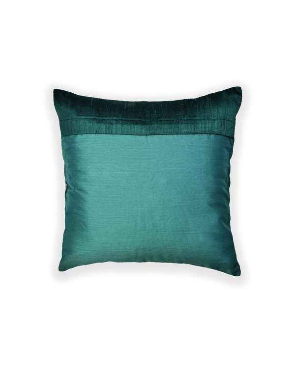 Green Hand-embroidered Raw Silk Cushion Cover 16""