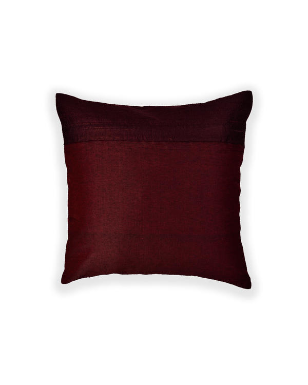 Mahogany Hand-embroidered Raw Silk Cushion Cover 16""