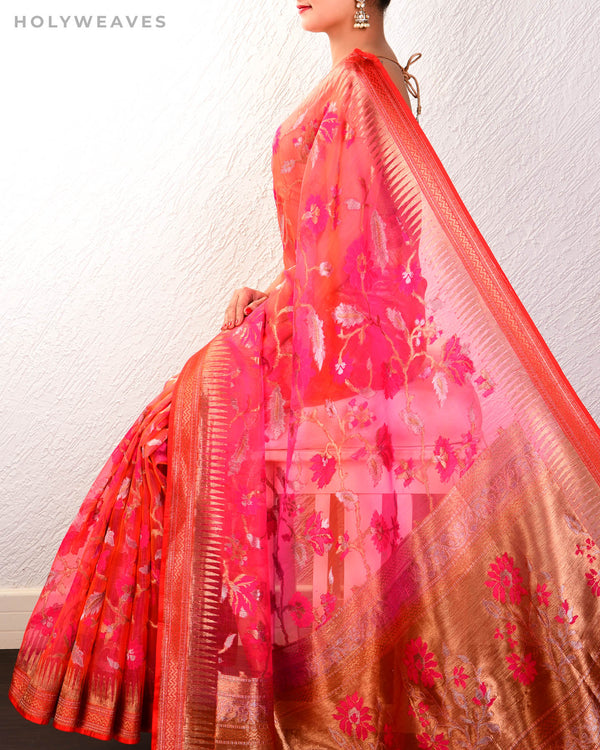 Shot Pink-Orange Banarasi Tehri Meena Jaal Cutwork Brocade Handwoven Kora Silk Saree