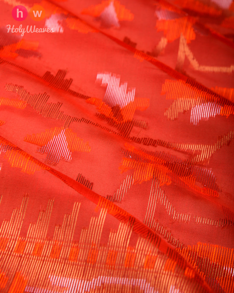 Red Banarasi Alfi Meena Jaal Cutwork Brocade Handwoven Kora Silk Saree - HolyWeaves