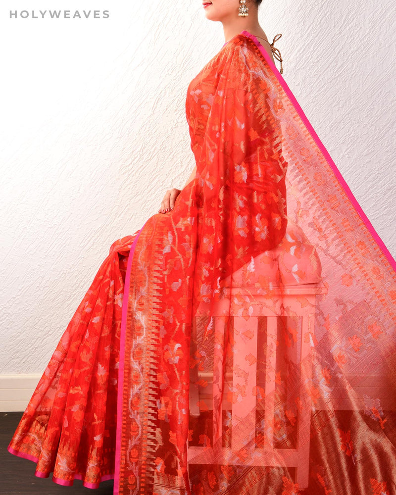 Red Banarasi Alfi Meena Jaal Cutwork Brocade Handwoven Kora Silk Saree