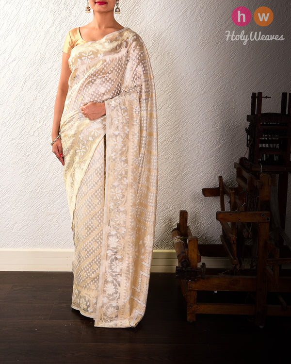 Cream Banarasi Sona Rupa Cutwork Brocade Handwoven Kora Tissue Saree - HolyWeaves