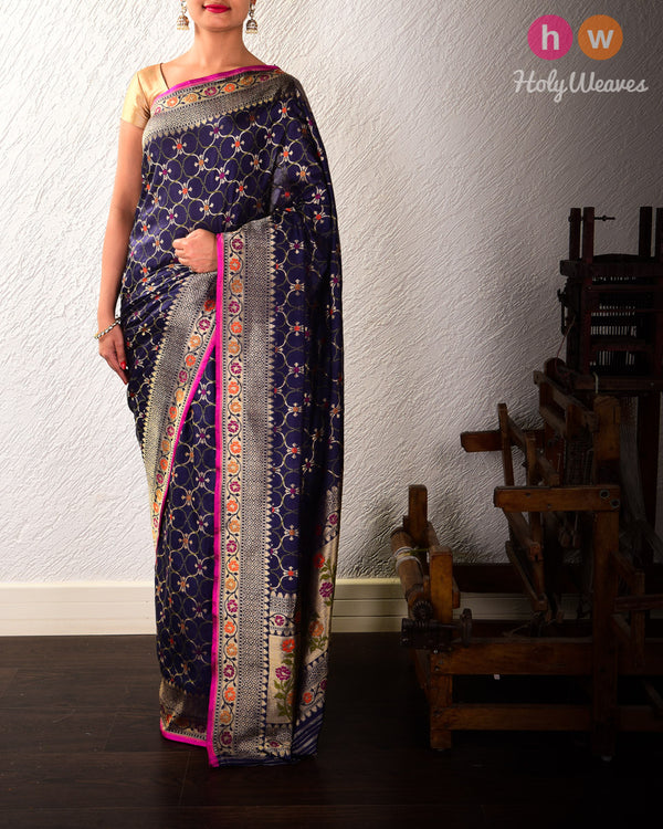 Navy Blue Banarasi Cutwork Brocade Handwoven Katan Silk Saree