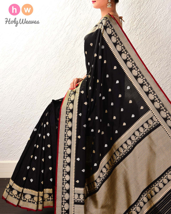 Black Banarasi Kadhuan Brocade Handwoven Katan Silk Saree with Red Selvage - HolyWeaves