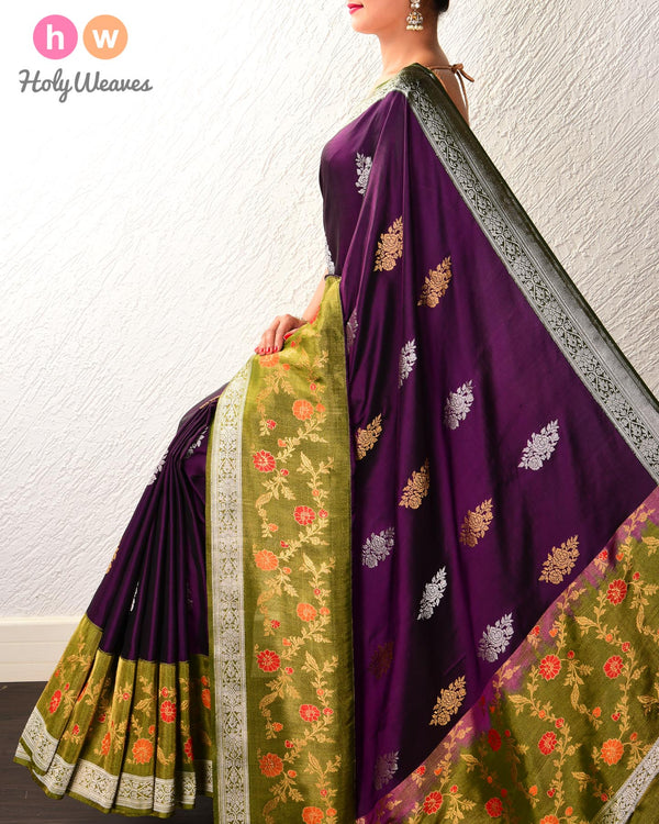 Purple Banarasi Kadhuan Brocade Handwoven Katan Silk Saree with Tissue Border & Blouse