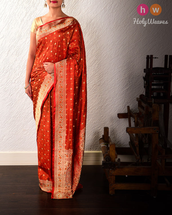 Red Banarasi Tehri Jamawar Brocade Handwoven Katan Silk Saree - HolyWeaves