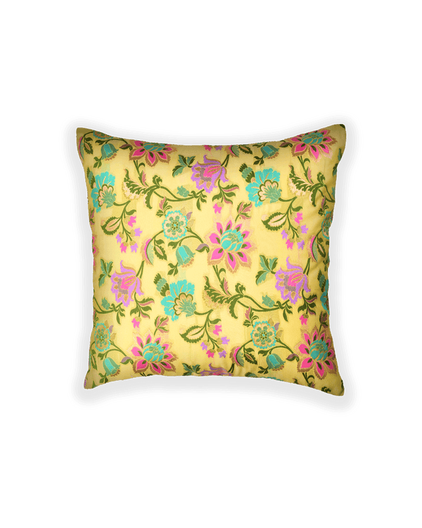 Lime Green Banarasi Kimkhwab Brocade Poly Silk Cushion Cover 16""