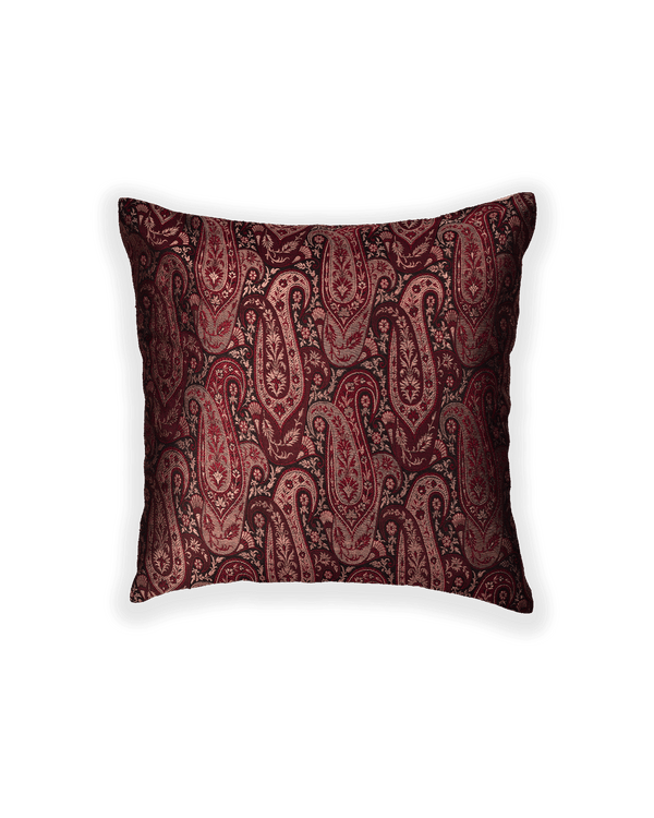 Mahogany Banarasi Brocade Poly Silk Cushion Cover 16""