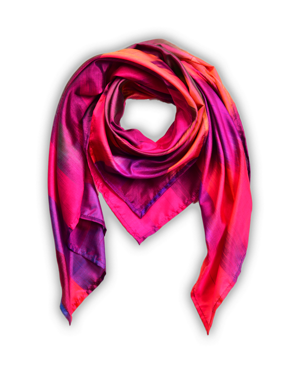 "Vibgyor Pink Multi Color Ikat Handwoven Silk Scarf 40""x40"""