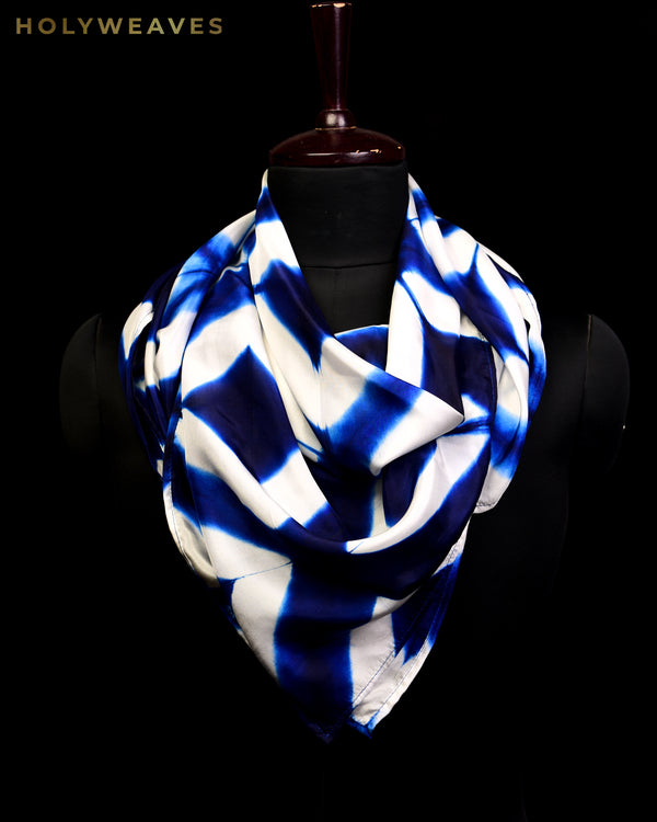 "Blue Multi Color Shibori Printed Silk Scarf 40""x40"""