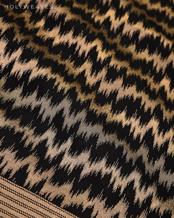 Black Banarasi Ikat-Chevron Pattern Cutwork Brocade Handwoven Katan Silk Fabric