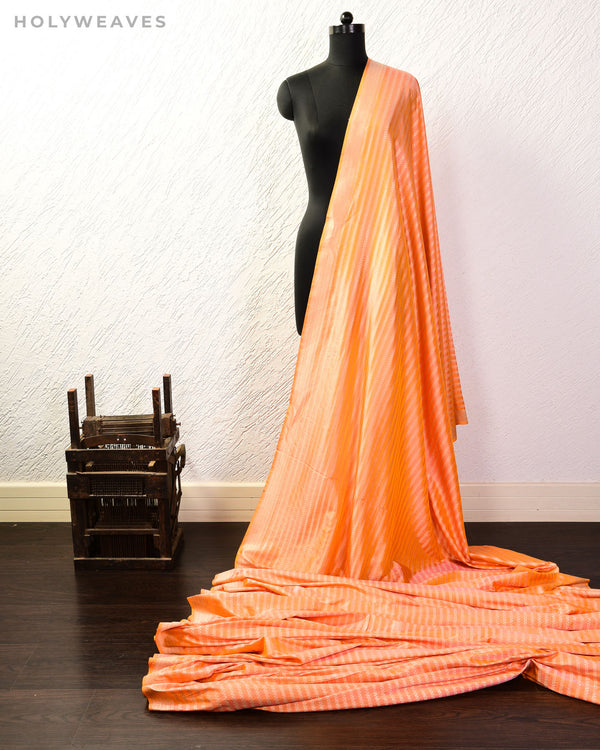 Peach Banarasi Zari Stripes Cutwork Brocade Handwoven Katan Silk Fabric - HolyWeaves