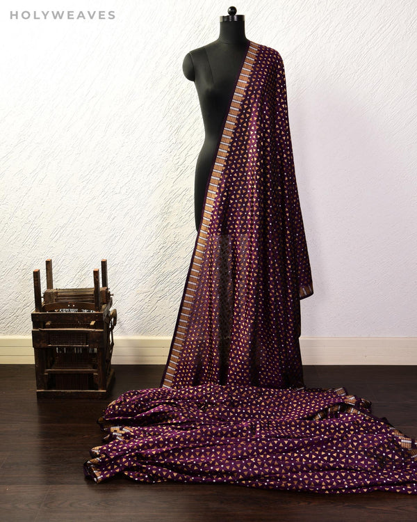 Purple Banarasi Geometric Alfi Sona-Rupa Cutwork Brocade Handwoven Katan Silk Fabric