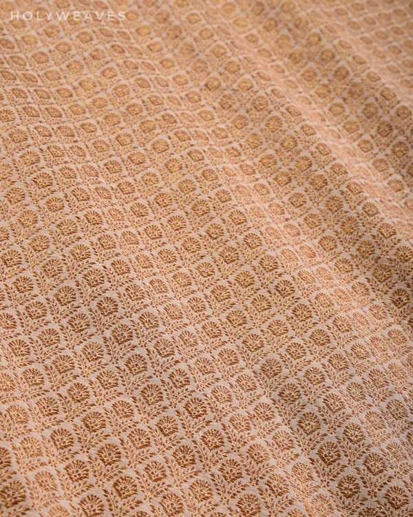 Beige Banarasi Antique Zari Cutwork Brocade Handwoven Muga Silk Fabric