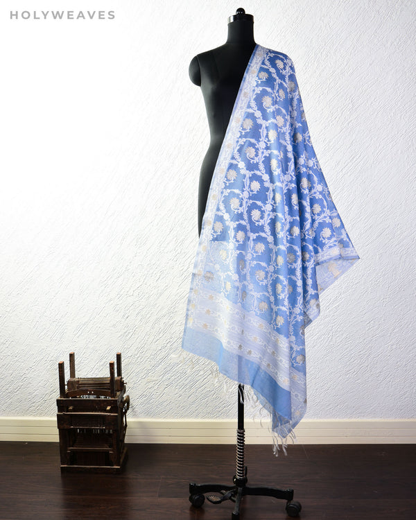 Blue-Gray Banarasi Kamal Jaal Cutwork Brocade Handwoven Cotton Silk Dupatta