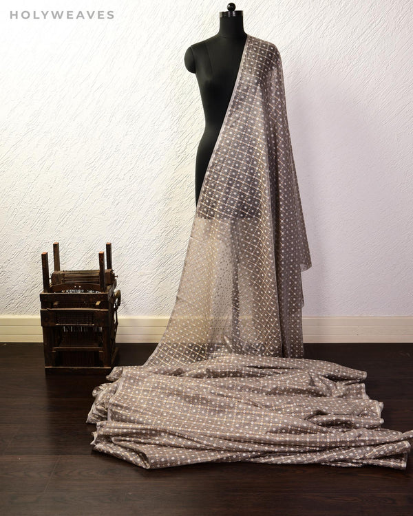 Gray Banarasi Gharchola Alfi Cutwork Brocade Handwoven Cotton Silk Fabric