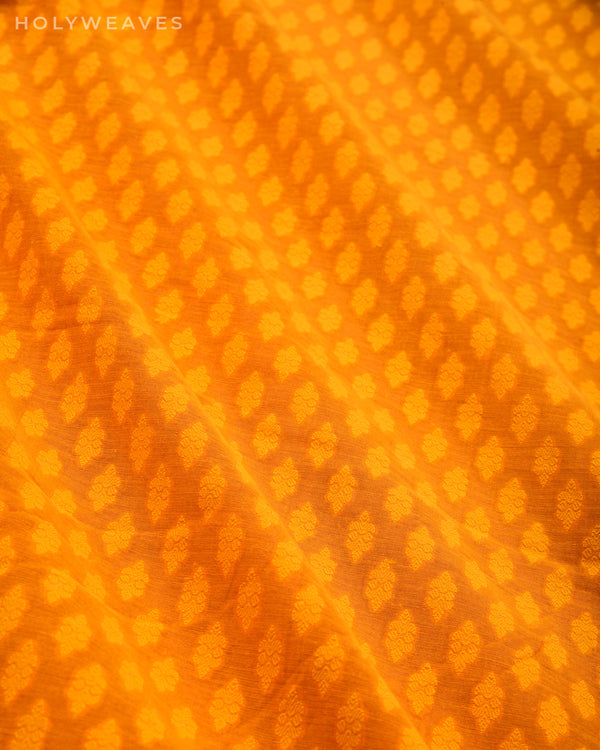 Mustard Yellow Banarasi Cutwork Brocade Handwoven Cotton Silk Fabric