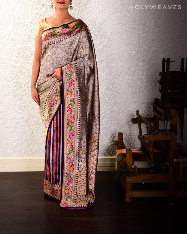 Purple Banarasi Half-n-Half Kadhuan Brocade Handwoven Katan Silk Saree with Meenakari Border
