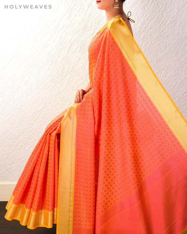 Orange Banarasi Tanchoi Brocade Woven Cotton Silk Saree