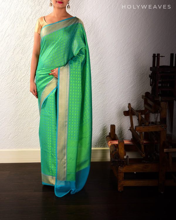 Forest Green Banarasi Tanchoi Brocade Woven Cotton Silk Saree