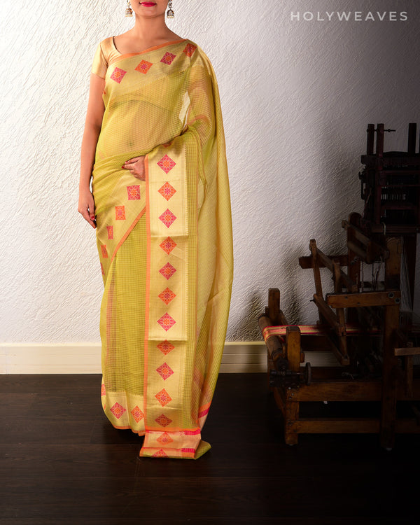 Green Banarasi Chequered Weave Cutwork Brocade Woven Cotton Silk Saree with Meenakari Border